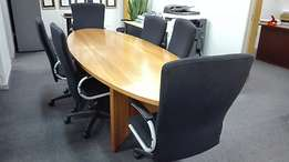 10 Seater Boardroom Table including 8x high-back Swivel Chairs