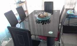 black glass dining room n 6leather look chairs