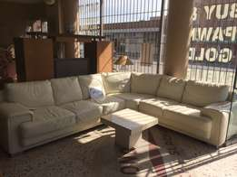 Cream/white leather lounge suite