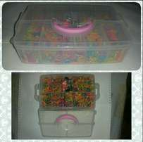 Multicoloured Kids Hair Rubber Bands In Plastic Box