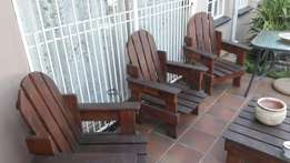 Solid wood patio set
