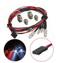 RC On-Road 4 LED Light 5mm White And 3mm Red Car LED Night Headlamps