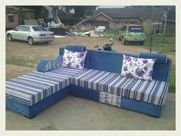 Stripped L shape sofa is available on order