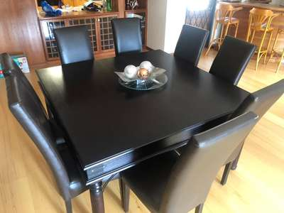 Admirable Dark Wooden Dining Table And 8 Leather Chairs Gmtry Best Dining Table And Chair Ideas Images Gmtryco