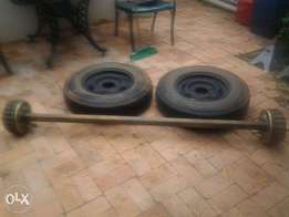Trailer Axle 1500kg with two tyres.