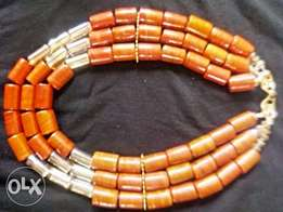 Red and Gold Stone Bead