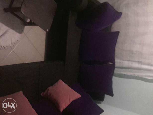 L seven Sitters Soffer on sale . Black in colour Purple BIG cushions . Mtwapa - image 6