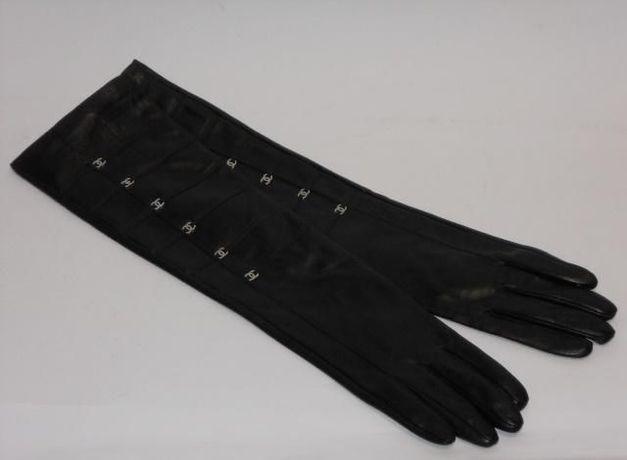 1a5eb6831ecb5 Skórzane rękawiczki Chanelki damskie długie rękawiczki Logo S
