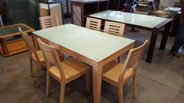 Glass Top / Maple Finish Table and Chairs
