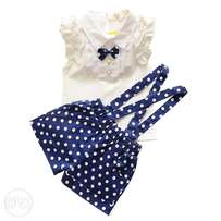 Baby girls bow sleeveless shirt with belted shorts