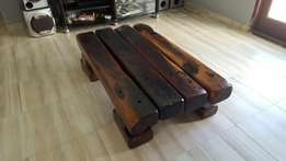 Solid railway sleeper coffee table