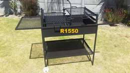 Braai drum on stand with grid and wheels