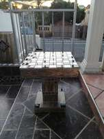 All purpose Mini Patio Table with BUILT IN CHESS BOARD.