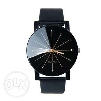 Black Genuine leather quartz wristwatch Ojo - image 5
