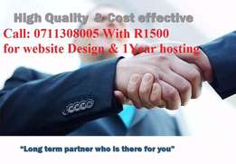 Complete WEBDESIGN for R1500 incl 1 year free domain hosting Hosting