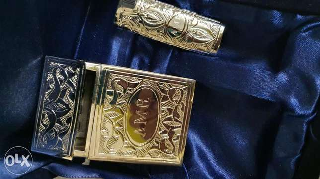 Special Silver Cigarette Case and Lighter Case