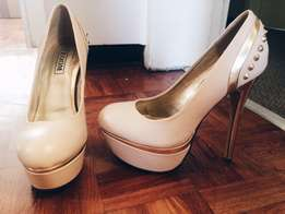 Nude and Gold stiletto heels