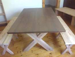 6 Seater Dining Table, 1.6m x 1m, Oregon, Made to order. Benches