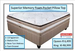 Superior Memory foam pocket Pillow top King Xl se at factory low price