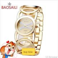 Baosaili Gold Plated Circles Strap Stainless Steel Women Watches
