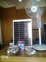 4 bulbs Solar lighting kits with USB phone charger and fan