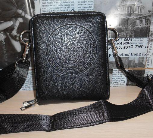 eea80275be435 Skorzana czarny męska torba Listonoszka Versace
