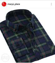Men's woolly check long-sleeved shirt, high quality, formal and casual