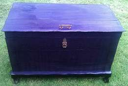 Stunning, Vintage, Solid Wood, Charred / Blackened Chest 103cm x 54cm