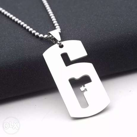 Silver stainless steel r6 rainbow six siege game necklace pendant
