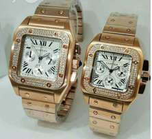 Cartier His and Hers Rose Gold Detailed Watch