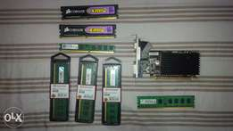 RAM cards for sale and 1 graphics card for sale in PE