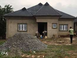 It's on a 60 by 120 land and 5 bedroom, 3 toilets. In ogun state.