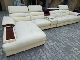 L shape adjustment sofa leather chairs by 7seaters with music bus