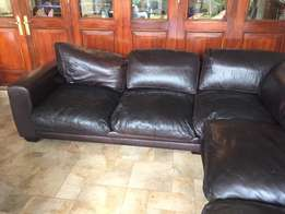 Brown Leather Lounge Suite