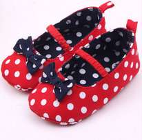 Baby Girl Soft Sole Shoes Dots Bowknot
