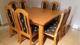 8 seater Oak Dining Table and Chairs