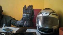 ama racing helmate and rospa leather gloves for sale