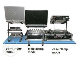 L Laptop gear stand with table case clamps