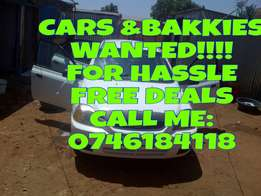 Wanted -Cars and bakkies