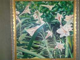 Wild Lily's Oil Painting by Leon Muller for Sale!