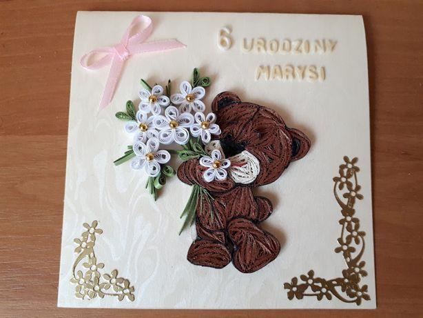 Modernistyczne Kartki urodzinowe dla dzieci, ręcznie robione, quilling Sosnowiec RD94