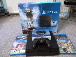 ps4 500gb with 5 ps4 games,1 controller,1 compact steering