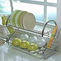Chrome plated dish drainer with water collection tray