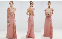 6fa5059586ef11 ASOS XXS pudrowa długa sukienka nude maxi wesele wiskozowa