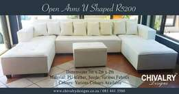 The White U Shaped leather couch for only R6700