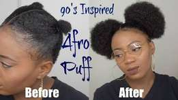 Afro puff natural wig