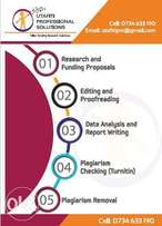 Research Editing, Proofreading, Data Analysis and Report