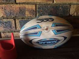 Rugby match ball and tees