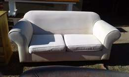 2 Seater Fully Upholstered Cream Couch