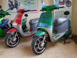 Power by green scooter